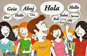 """Group of people saying """"Hello"""" in different languages"""